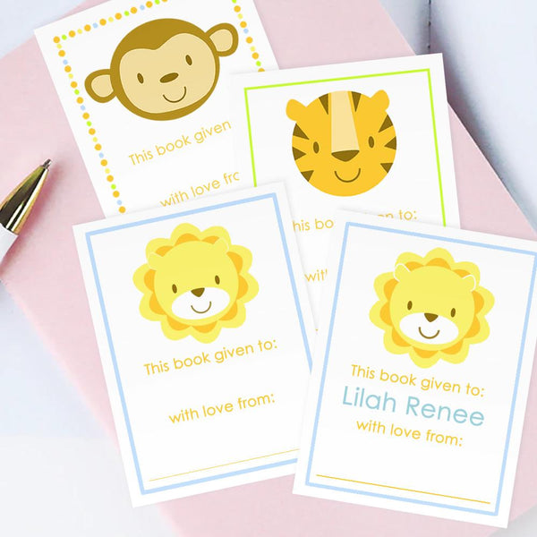 Custom Bookplates - Set of 12 Personalized Zoo Book Labels