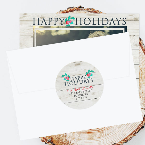 "Holiday Address Labels - 3"" Barn Wood"