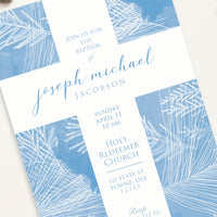 Baptism Invitation - Blue Cross