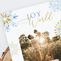 Holiday Photo Cards - Blue Gold Snowflake