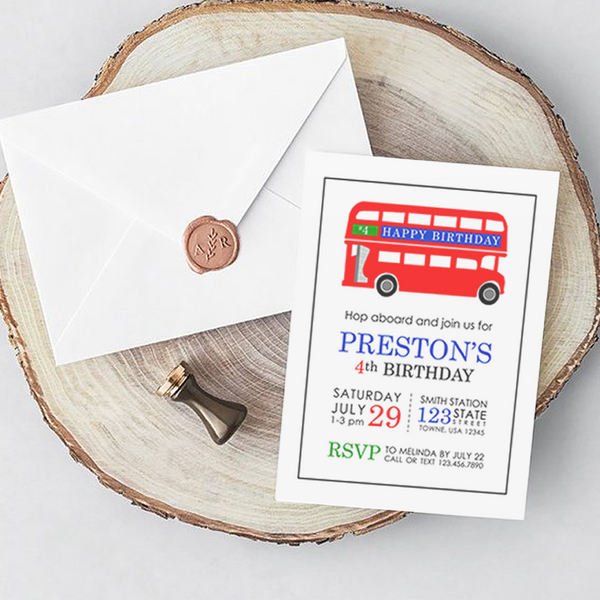 Brit Bus Invitations - 10 invites / white envelopes
