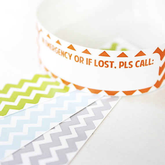 Custom Vinyl ID Bands - Set of 12 Chevron Bracelets