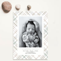 Birth Announcement - Classic Plaid