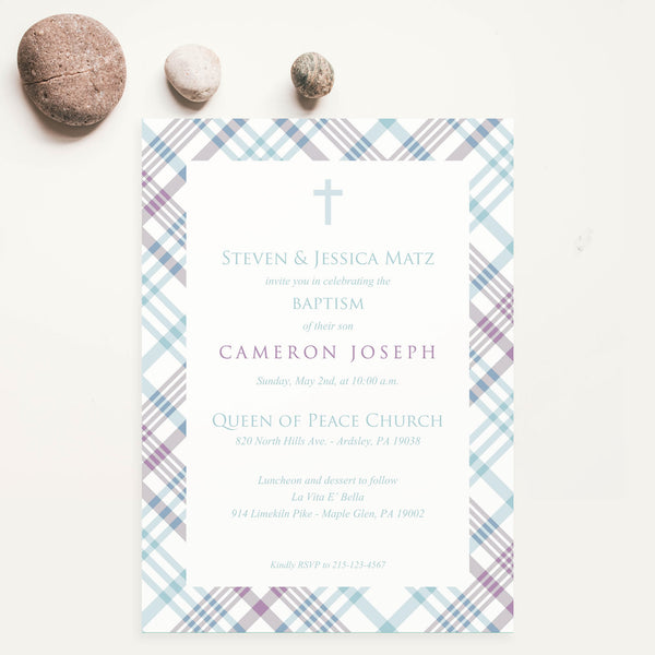 Baptism Invitation - Classic Plaid