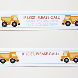 Custom Vinyl ID Bands - Set of 12 Dump Truck Bracelets