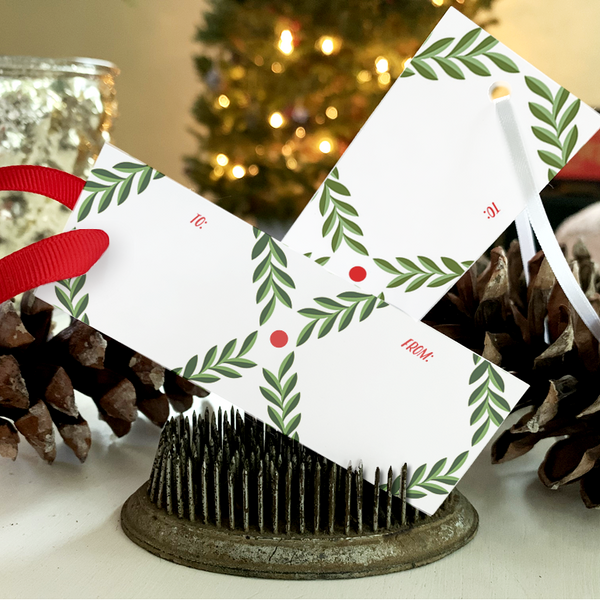 Printable Holiday Gift Tags - Green Leaf