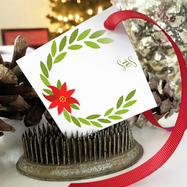 PRINTABLE Holiday Gift Tags - Poinsettia
