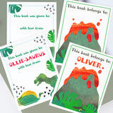 Custom Bookplates - Assorted Set of 12 Personalized Dino Geo Book Labels