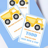 Custom Bookplates - Set of 12 Personalized Dump Truck Book Labels