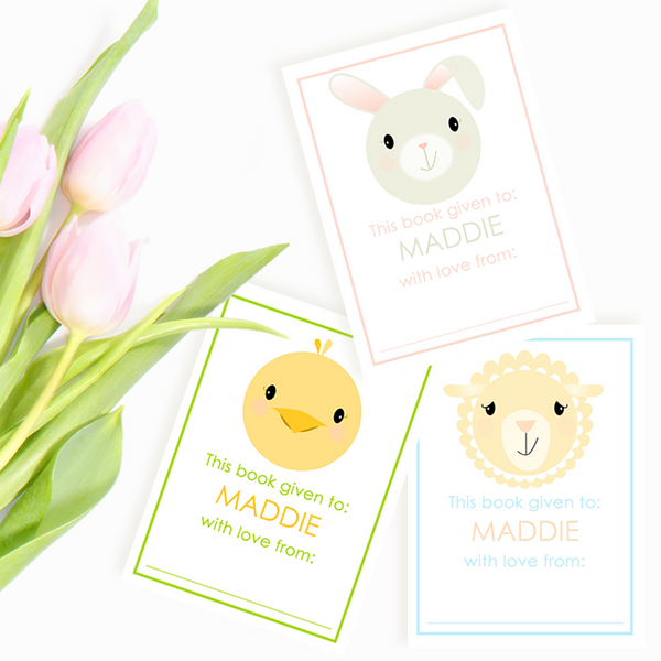 Custom Bookplates - Set of 12 Personalized Spring Critters Book Labels
