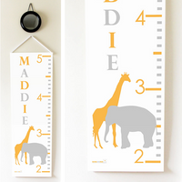 Kids Growth Chart - Personalized Height Chart - Elephant & Giraffe