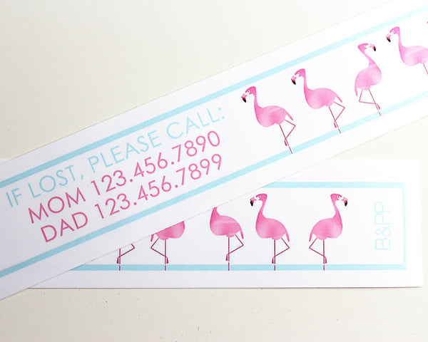 Custom Vinyl ID Bands - Set of 12 Pink Flamingo Bracelets