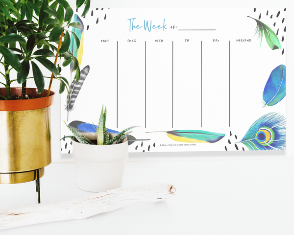 Weekly Planner Pad - Feathers