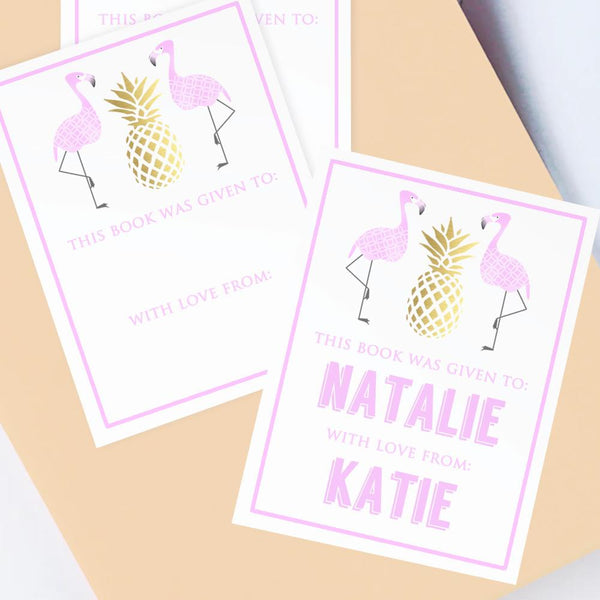 Custom Bookplates - Set of 12 Personalized Flamingo Book Labels