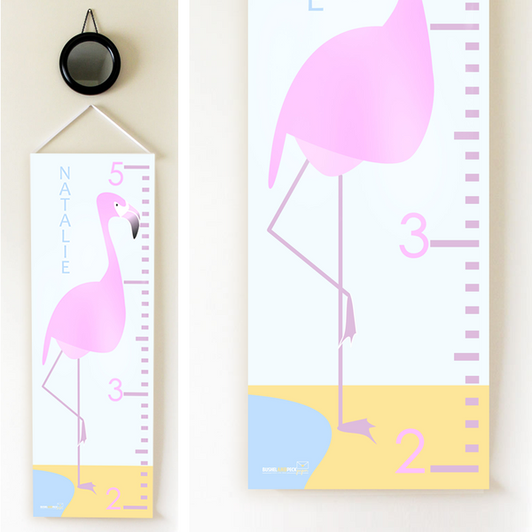Kids Growth Chart - Personalized Height Chart - FLAMINGO