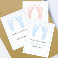 Custom Bookplates - Set of 12 Personalized Tiny Footprint Book Labels