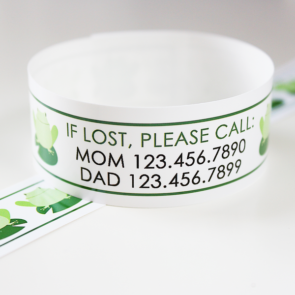 Custom Vinyl ID Bands - Set of 12 Frog Bracelets