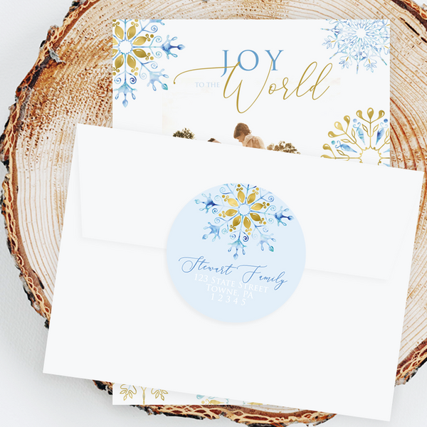 "Holiday Address Labels - 3"" Blue Gold Snowflake"