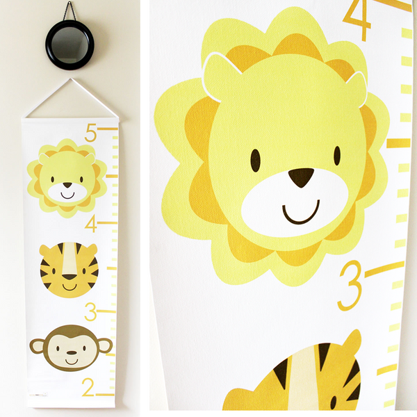 Kids Growth Chart - Personalized Height Chart - Zoo Animals