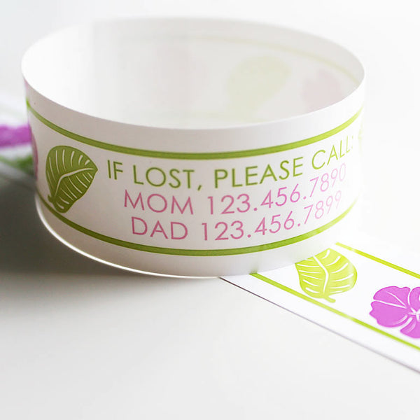 Custom Vinyl ID Bands - Set of 12 Luau Bracelets