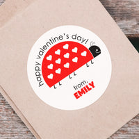 "Valentine Stickers - 3"" Round - Love Bug"