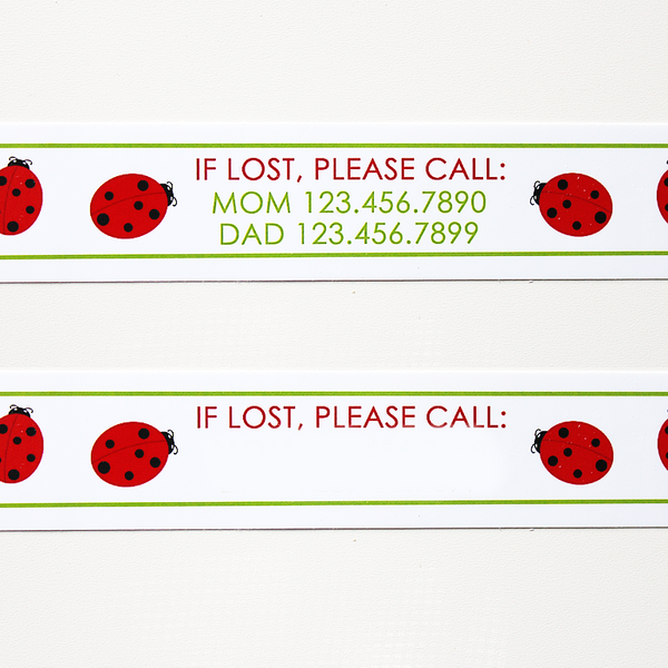 Custom Vinyl ID Bands - Set of 12 Ladybug Bracelets