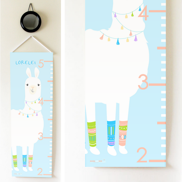 Kids Growth Chart - Personalized Height Chart - Llama