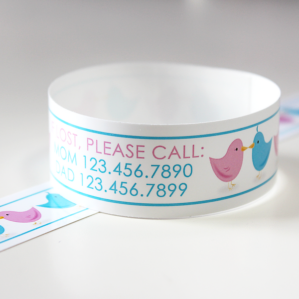 Custom Vinyl ID Bands - Set of 12 Love Bird Bracelets