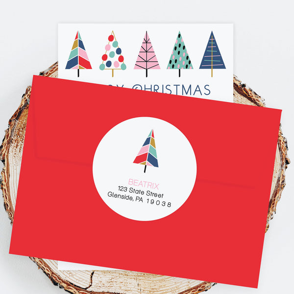 "Holiday Address Labels - 3"" Mod Tree"