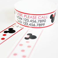 Custom Vinyl ID Bands - Set of 12 Polka Dot Mouse Bracelets