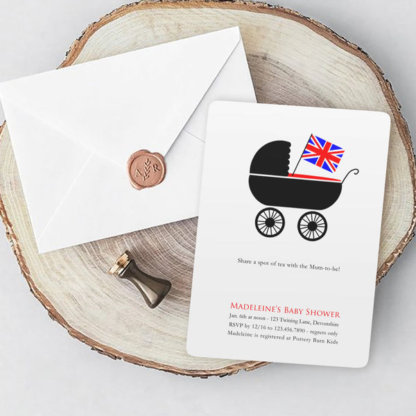 Brit Pram Baby Shower Invitations - 10 invites / white envelopes