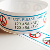 Custom Vinyl ID Bands - Set of 12 Peace Sign Bracelets