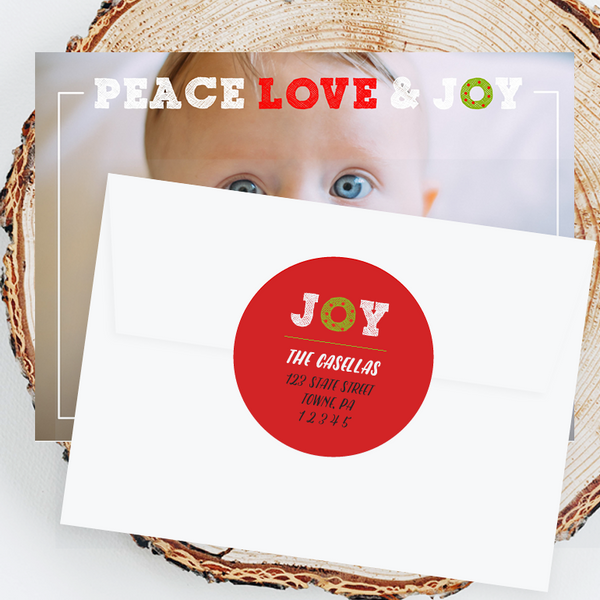 "Holiday Address Labels - 3"" Peace Love Joy"