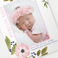 Birth Announcement - Pink Anemone