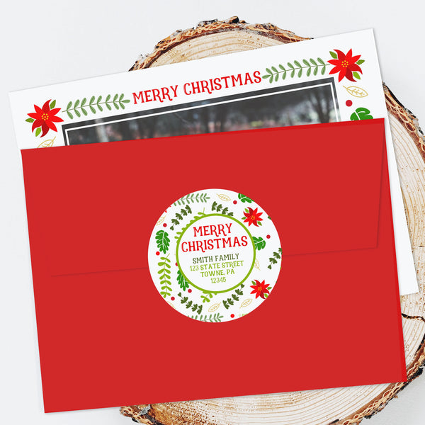 "Holiday Address Labels - 3"" Poinsettia"