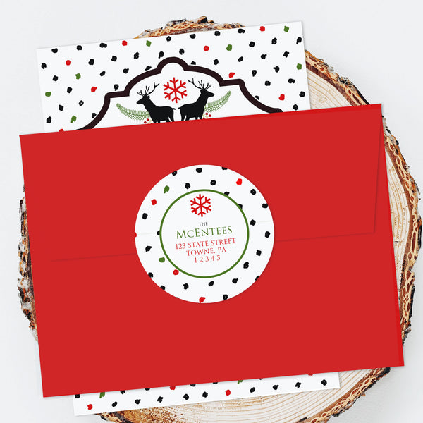 "Holiday Address Labels - 2"" Polka Dot Deer"