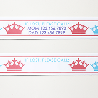 Custom Vinyl ID Bands - Set of 12 Princess Crown Bracelets