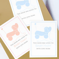 Custom Bookplates - Set of 12 Personalized Puppy Pull Toy Book Labels
