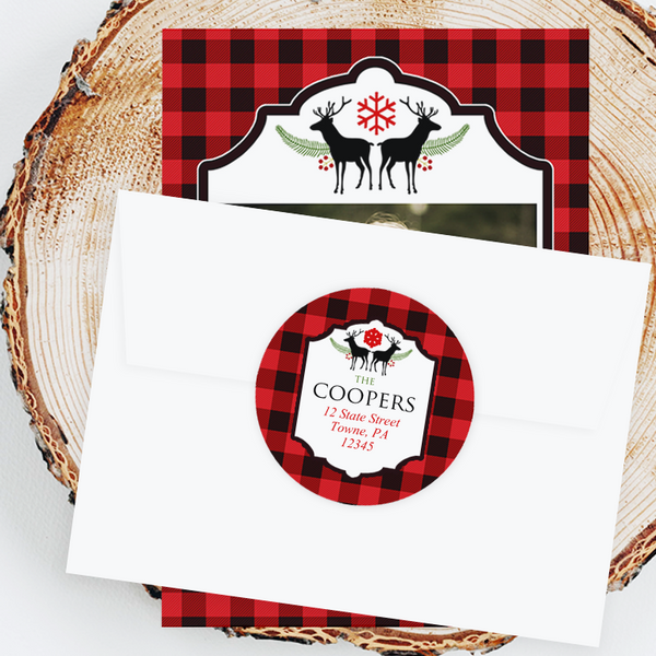 "Holiday Address Labels - 3"" Buffalo Check"