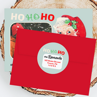 "Holiday Address Labels - 3"" Retro Santa"