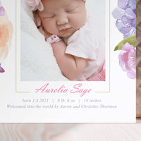 Birth Announcement - Rose Garden