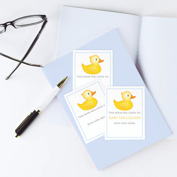 Custom Bookplates - Set of 12 Personalized Rubber Ducky Book Labels