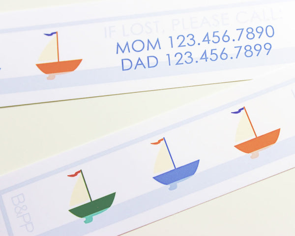 Custom Vinyl ID Bands - Set of 12 Sailboat Bracelets