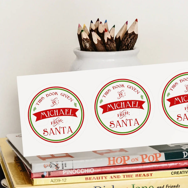 Custom Bookplates - Set of 24 Personalized SANTA Book Labels