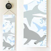 Kids Growth Chart - Personalized Height Chart - Sharks
