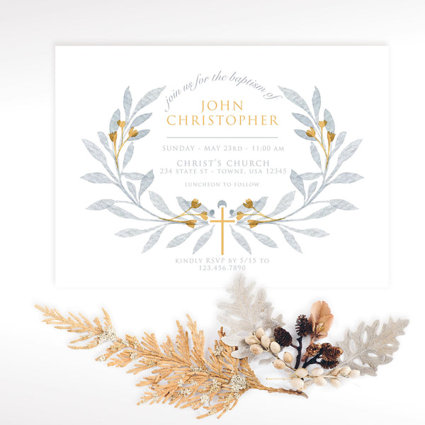Baptism Invitation - Wreath
