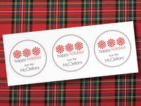 "Personalized Holiday Gift Labels - Large 3"" Round Custom Peel & Stick Snowflake Stickers - set of 24"