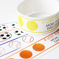 Custom Vinyl ID Bands - Set of 12 Sport Bracelets