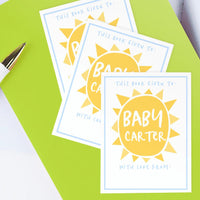 Custom Bookplates - Set of 12 Personalized Sunshine Baby Shower Book Labels