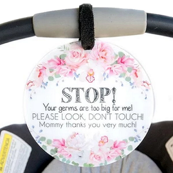 CAR SEAT / STROLLER TAG - STOP! FLOWERS